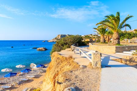 Coastal path along sea near Ammopi village, Karpathos island, Greece