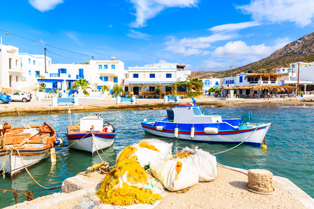 Fishing boats in Finiki port on Karpathos island, Greece