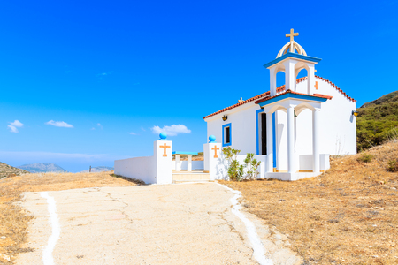 Traditional white church in mountains of Karpathos island, Greece