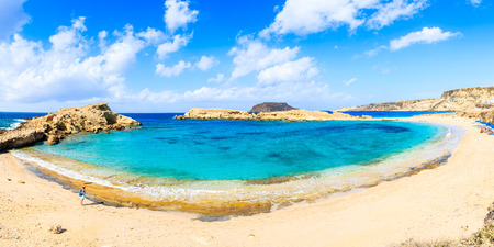 Panoramic view of beautiful beach in Lefkos village on Karpathos island, Greece Stock Photo