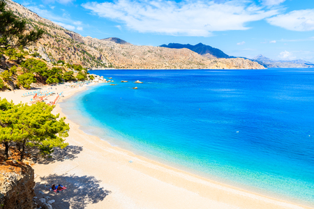 Azure sea at beautiful Apella beach on Karpathos island, Greece