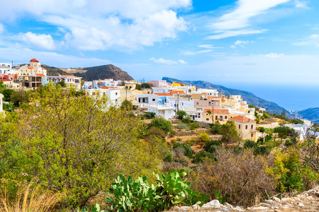 Colorful houses in Othos mountain village, Karpathos island, Greece