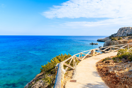 Coastal path along sea on Karpathos island near Ammopi village, Greece