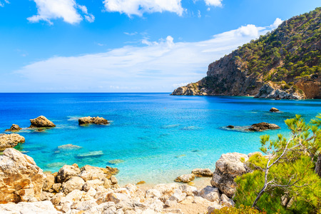 Amazing coast with azure sea near Apella beach on Karpathos island, Greece