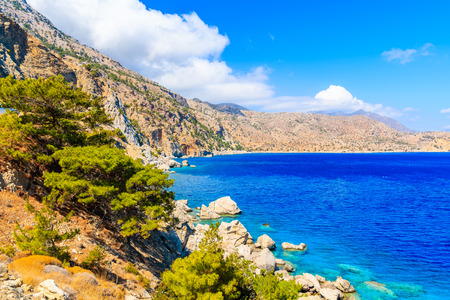 Beautiful sea coast near Apella beach on Karpathos island, Greece