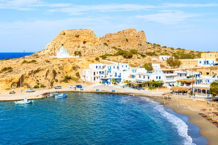 View of bay and beach in Finiki port, Karpathos island, Greece Stok Fotoğraf