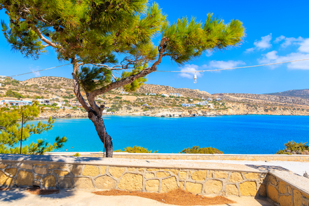 View of beautiful sea coast in Ammopi village on Karpathos island, Greece