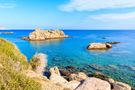 Beautiful sea colors in Ammopi village on coast of Karpathos island, Greece Imagens