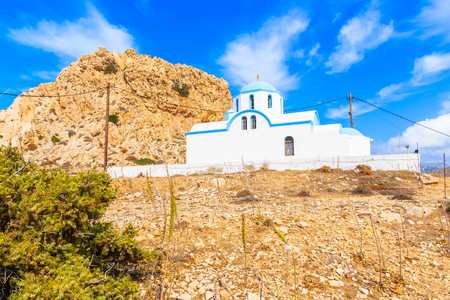 Traditional white church in Finiki port, Karpathos island, Greece Stock Photo