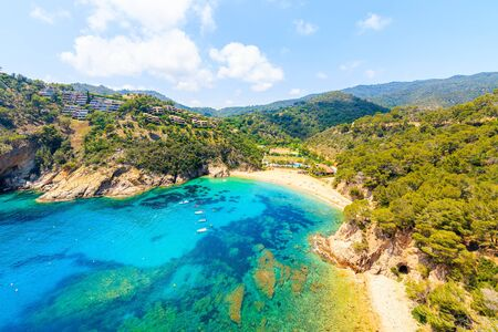 View of Cala Giverola, most beautiful beach on Costa Brava, Spain