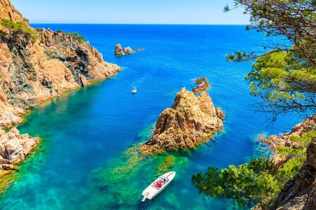 White motorboat in beautiful sea cove of Cala Marquesa with green pine trees on high rock cliffs, Costa Brava, Spain 写真素材
