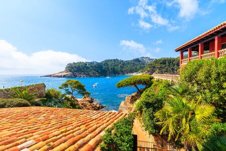 View of sea in picturesque port of Fornells village, Costa Brava, Spain