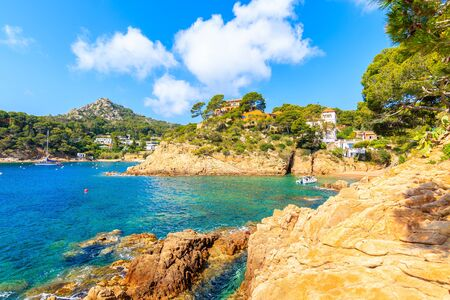 View of coast and sea in picturesque Fornells village, Costa Brava, Spain