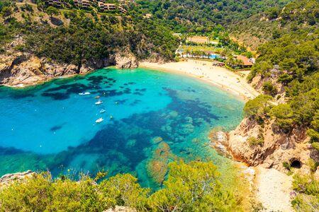 View of Cala Giverola, most beautiful beach on Costa Brava, Spain