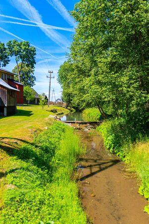 Small stream near Dunajec river on sunny summer day near Nowy Targ, Tatra Mountains, Poland Reklamní fotografie