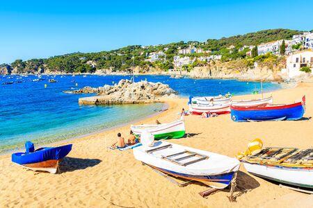 Fishing boats on picturesque beach in Calella de Palafrugell village, Costa Brava, Catalonia, Spain Reklamní fotografie