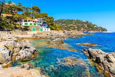 Fishing boat house on sea coast in Calella de Palafrugell fishing village, Costa Brava, Spain Reklamní fotografie