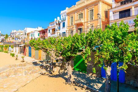 Colorful boat houses in Calella de Palafrugell village, Costa Brava, Catalonia, Spain