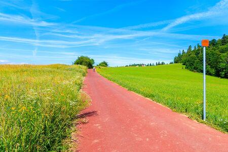 Cycling way along green fields near Czorsztynskie lake and Niedzica village on beautiful summer day, Pieniny Mountains, Poland Reklamní fotografie