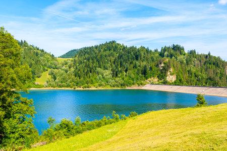 View of Czorsztynskie lake near Niedzica castle on sunny summer day, Poland