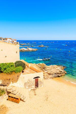 Beautiful sandy beach in fishing village of Calella de Palafrugell, Costa Brava, Catalonia, Spain