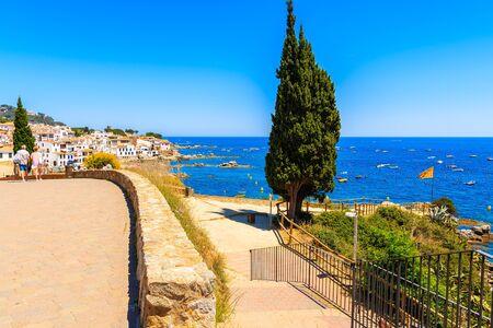 Seaside promenade in Calella de Palafrugell town, Costa Brava, Catalonia, Spain Stok Fotoğraf