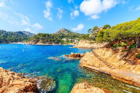 Coastal path in Cala Fornells fishing village, Costa Brava, Catalonia, Spain