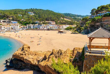 Stunning beach with azure sea water in beautiful Sa Riera village, Costa Brava, Catalonia, Spain