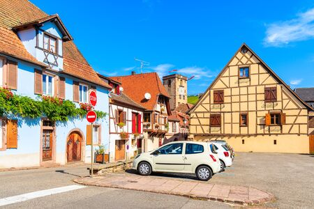Old colorful houses in Hunawihr village on Alsatian Wine Route, France