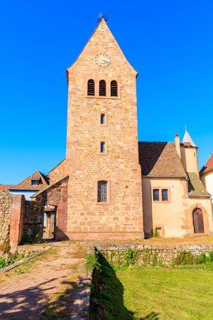 Church tower in Kientzheim village on Alsatian Wine Route, France