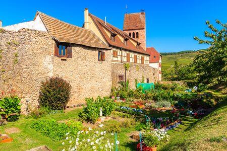 Old houses in Kientzheim village on Alsatian Wine Route, France Reklamní fotografie