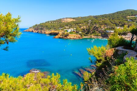 View of bay with azure sea water in beautiful Sa Riera village, Costa Brava, Catalonia, Spain Фото со стока