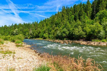 Green hills along Dunajec river on sunny summer day, Pieniny Mountains, Poland Фото со стока