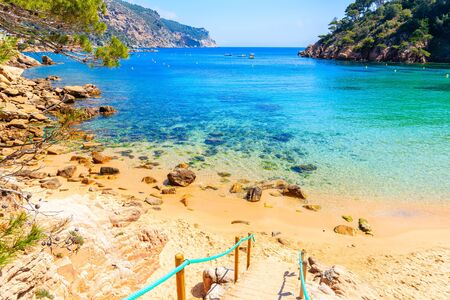 Steps to beautiful sandy Aiguablava beach, Costa Brava, Catalonia, Spain Standard-Bild - 130816148