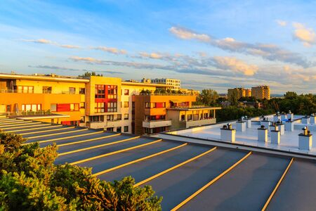 Terrace of new city apartment at sunset time in Krakow, Poland