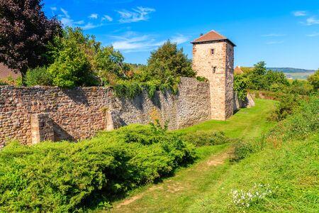 Old tower in Kientzheim village on Alsatian Wine Route, France