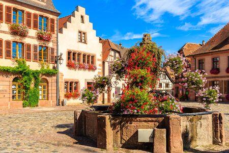Colorful houses on square in Bergheim village on Alsatian Wine Route, France Reklamní fotografie