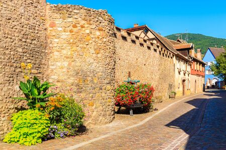 Street in beautiful old village of Kintzheim which is located on famous Alsace wine route, France Archivio Fotografico