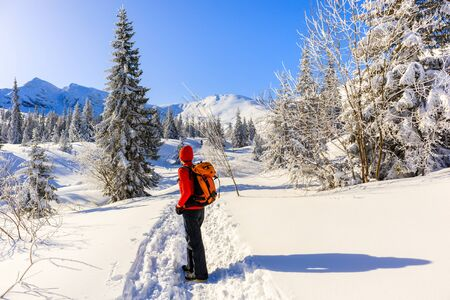 Young woman backpacker on walking trail in Gasienicowa valley during winter time, Tatra Mountains, Poland Stockfoto