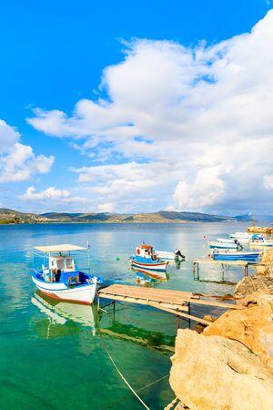 Greek fishing boats mooring in port, Samos island, Greece