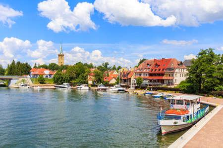 Tourist ship in Mikolajki port on sunny summer day, Mazury Lake District, Poland