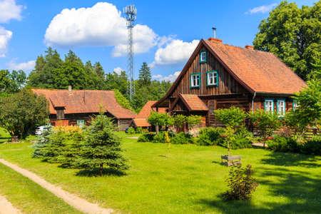 Old traditional rural houses in Krutyn village near lake Mokre, Masurian Lakes, Poland