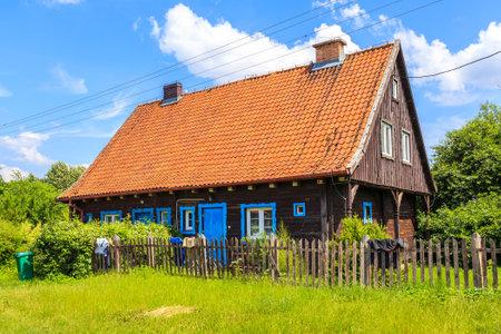 Old traditional rural house in Popielno village near lake Beldany, Masurian Lakes, Poland Publikacyjne
