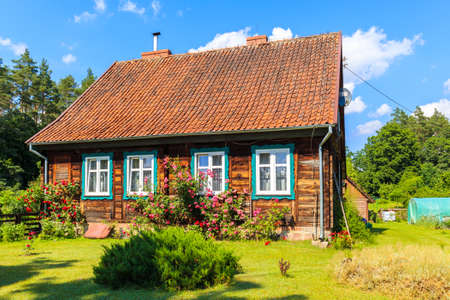 Old traditional rural house in Krutyn village near lake Mokre, Masurian Lakes, Poland