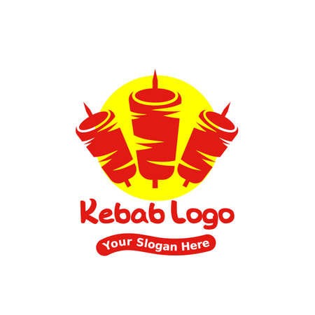 kebab logo template. creative vector illustrator, suitable for fast food restaurants.