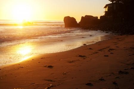 Malibu Beach taken during a golden sunset Stock Photo
