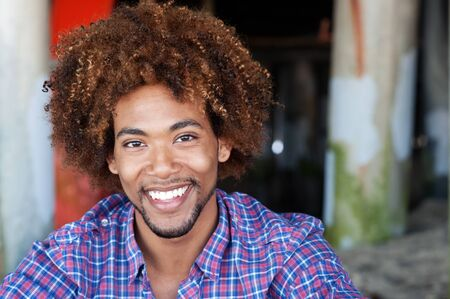 closeup portrait of a handsome African American man at the beach Stock Photo - 13445987