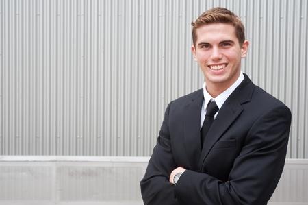 portrait of a young handsome businessman shot on location Standard-Bild