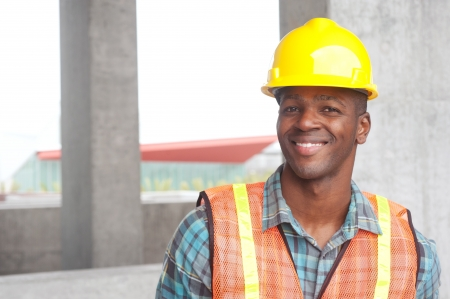 site: portrait of an African American construction worker on location Stock Photo
