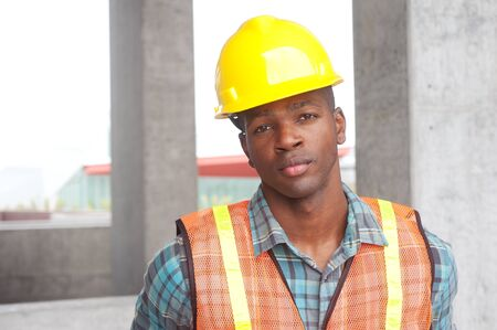 portrait of an African American construction worker on location Stock Photo - 13675764